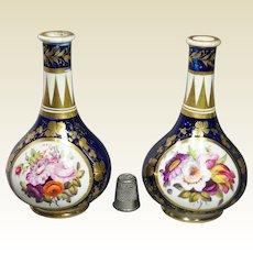 Georgian Miniature Derby Porcelain Vase Pair Circa 1805 Cobalt Blue Florals AF