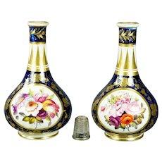 Georgian Miniature Derby Porcelain Vase Pair English Circa 1805 Cobalt Blue Buttery Gilt Hand Painted Florals AF