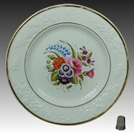 Antique Regency Porcelain Dessert Plate Hand Painted Floral English Circa 1820
