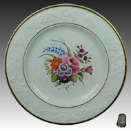 19th Century Georgian Porcelain Dessert Plate Hand Painted Floral Roses English Circa 1820