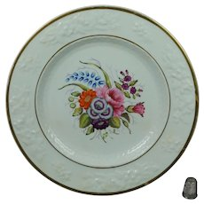 19th Century Georgian Porcelain Dessert Plate Hand Painted Floral Roses English Circa 1820