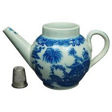 19th Century Childs Toy Miniature Blue And White Teapot Curling Palm Transferware Circa 1805 AF