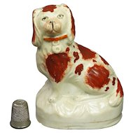 19th Century Small Staffordshire Figure Spaniel Dog Circa 1840