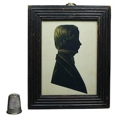 Antique Regency Portrait Silhouette Boy Cut Paper Reeded Frame Circa 1810 Georgian