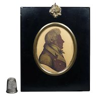 19th Century Sepia Bronzed Portrait Silhouette, Regency Man English Circa 1820s Rare Unopened