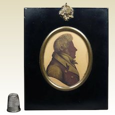 19th Century Sepia Bronzed Portrait Silhouette, Regency Man English Circa 1820s Rare Unopened