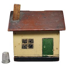 19th Century Cottage Model House Money Bank Folk Art Naïve Painted Box Circa 1900