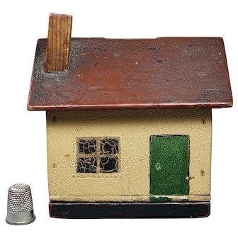 19th Century Cottage Model House Money Bank Folk Art Naïve Painted Box Circa 1900