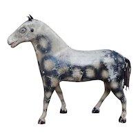Antique 19th Century Painted Horse Toy,  Dapple Gray, Folk Art Circa 1850