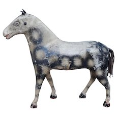 Antique 19th Century Painted Horse Toy,  Dapple Gray, Folk Art Circa 1850