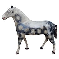 19th Century English Large Horse Pull Toy Hand Painted Dapple Gray Wood Composition Circa 1850