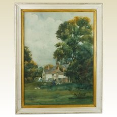 Antique Watercolor Painting English Rural Farmhouse Landscape Allan Smith 1912