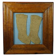 Antique Baby Dolls Knitted Socks Stockings Folk Art Birds Eye Maple Frame Pretty Blue Gingham Amish