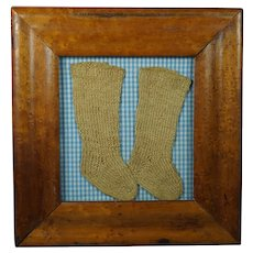 Antique Baby Dolls Knitted Socks Folk Art Birds Eye Maple Frame Pretty Blue Gingham