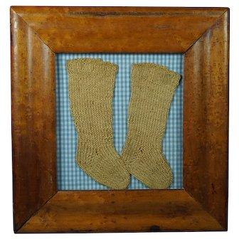 Antique Baby Dolls Knitted Socks Folk Art Birds Eye Maple Frame Pretty Blue Gingham