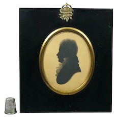 19th Century Regency Silhouette Gentleman by William Alport Taken At William Bullock Museum Liverpool Circa 1808 Jane Austen Period