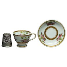 Antique Spode Pattern 3157 Miniature Doll Tea Cup And Saucer Pattern 3157 Circa 1821 Georgian Era