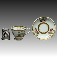 Antique Spode Pattern 3157 Miniature Doll Tea Cup And Saucer Pattern 3157 Circa 1821 Georgian Era