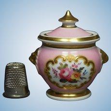 Circa 1815 Miniature Dolls Sucrier Pink Chamberlain Worcester Porcelain Lidded Sugar Bowl, English Circa 1815