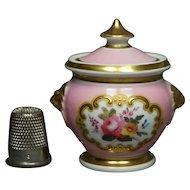 19th Century Miniature Dolls Sucrier Pink Chamberlain Worcester Porcelain Lidded Sugar Bowl Regency Circa 1815