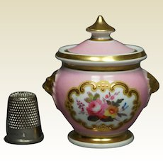 19th Century Miniature Dolls Sucrier Pink Chamberlain Worcester Porcelain Lidded Sugar Bowl Regency Circa 1815