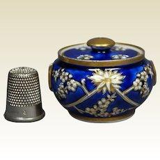 Georgian Spode Porcelain Miniature Dolls Sucrier Lidded Sugar Bowl, Cobalt Blue, Pattern 3153 Circa 1821