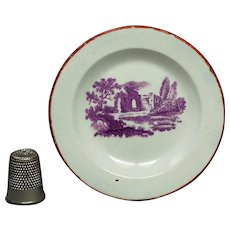 Antique Miniature Toy Doll Plate, Purple Print, Georgian Era Nurseryware, Circa 1835