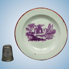 Georgian Miniature Toy Doll Plate Nurseryware, Ruins Circa 1835 Georgian