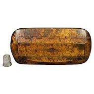 Early 19th Century Scottish Snuff Box Burr Burl Amboyna and Horn, Regency Circa 1810