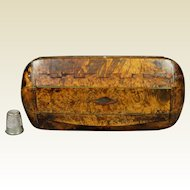 Early 19th Century Scottish Snuff Box Burr Burl Amboyna and Horn, Regency Circa 1810