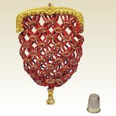 Antique Regency Purse Red and Gilt Ormolu Frame Circa 1815 Jane Austen Era SPECTACULAR