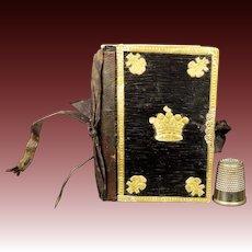 Antique 19th century Decorative Needlecase Needlebook Gilt Crowns Warren Sister Family Dedication 1840s