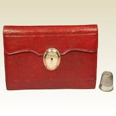 18th Century Georgian Purse Pocket Book Huswif Sewing Companion Red Leather Gold Clasp Dated 1796
