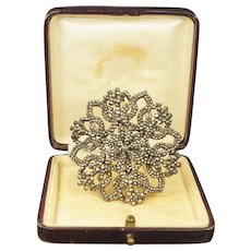 19th Century Cut Steel Brooch Original Box Circa 1870