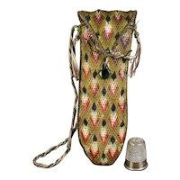 19th Century Flame Stitch Needlework Case Etui Bargello Green Woolwork,  Vauxhall Glass Button Circa 1830