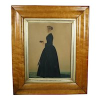Antique 19th Century Naive Folk Art Watercolor Portrait, School Teacher, Margaret Bateman Circa 1840