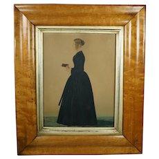 Antique 19th Century Naive Folk Art Watercolor Portrait, School Teacher, Margaret Bateman Circa 1840