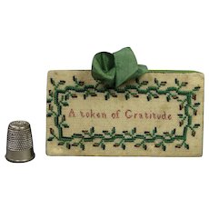 Antique Georgian Miniature Sampler Needle Book Sewing Needle Case A Token Of Gratitude Circa 1820