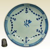 18th Century Pearlware Plate Blue And White Garland English Circa 1790