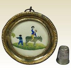 19th Century Regency Miniature Donkey Painting Dobbs Embossed Paper Pressed Brass Frame Circa 1820