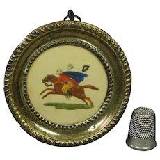 19th Century Regency Miniature Horse Painting Dobbs Embossed Paper Pressed Brass Frame Circa 1820