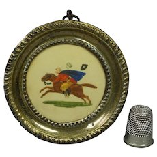 19th Century Regency Miniature Horse Painting Dobbs Embossed Paper Pressed Brass Frame Circa 1820
