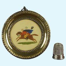 Regency Miniature Pressed Brass Frame, Dobbs Embossed Paper Scene Circa 1820