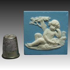 18th Century Miniature Wedgwood Solid Jasperware Plaque Bacchanalian Putti Cherub Doll House Size C 1790 Georgian