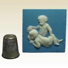 18th Century Miniature Wedgwood Solid Jasperware Plaque Bacchanalian Putti Doll House Size Circa 1790 Georgian