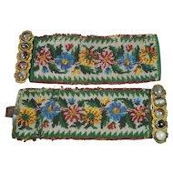 Antique Pair Georgian Beaded Cuff Bracelets Agate Clasps Pinchbeck Beadwork Circa 1830 AF