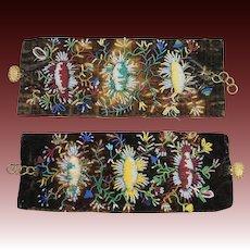 Antique Pair Georgian Beaded Bracelet Glass Beadwork Floral Cuff Bracelet Pinchbeck Clasps Circa 1830