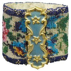 Antique 19th Century Beaded Cuff Bracelet Beadwork Rare Blue Pinchbeck Clasp Circa 1850