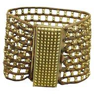 Antique Georgian Beaded Cuff Bracelet Gilt Beadwork Pinchbeck Clasp Circa 1840