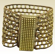 Antique Hair Art Georgian Beaded Cuff Bracelet Gilt Beadwork Pinchbeck Clasp Circa 1840